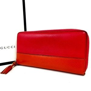 Auth Gucci Long Zipper Leather #1388G62
